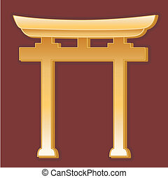 Shinto Symbol - Golden Torii Gate symbol of Shinto faith on...