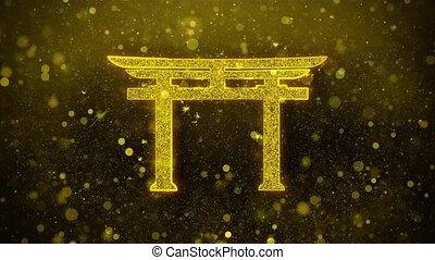 Shinto symbol Torii religion Icon Golden Glitter Shine...