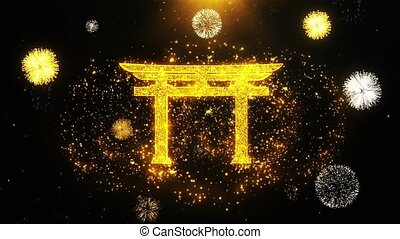 Shinto symbol Torii religion Icon on Firework Display...