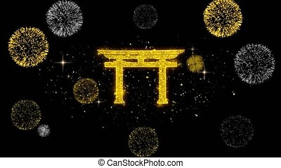 Shinto symbol Torii religion Icon on Glitter Golden...