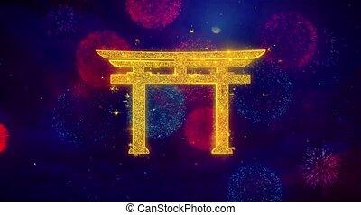 Shinto symbol Torii religion Icon Symbol on Colorful...
