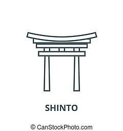 Shinto vector line icon, linear concept, outline sign,...