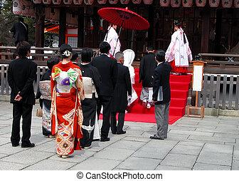 Shinto religious wedding ceremony.