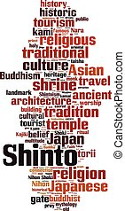 Shinto word cloud concept. Vector illustration