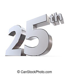 shiny 3d number 25th made of silver/chrome - silver wedding