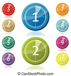 Shiny 3d buttons with countdown