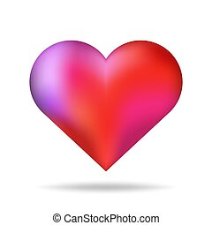 Shiny 3d vector heart shape red isolated with shadow. Valentine day romantic background element.