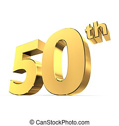 Shiny 50th - Gold - shiny 3d number 50th made of gold