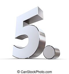 Shiny 5th with Round Dot - Metallic - shiny 3d number 5th...