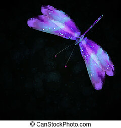 Shiny abstract dragonfly, futuristic colorful vector...