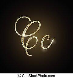 """Shiny alphabet """"C"""" of gold and diam - Illustration of Shiny..."""
