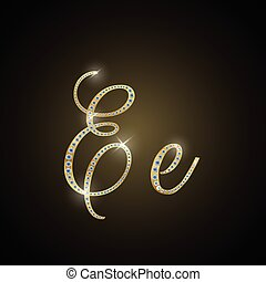"Shiny alphabet ""E"" of gold and diam"
