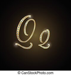 "Shiny alphabet ""Q"" of gold and diam"