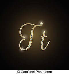 "Shiny alphabet ""T"" of gold and diam"