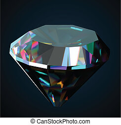 Shiny and bright diamond on a black background. Vector