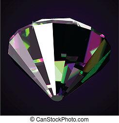 Shiny and bright diamond on a dark background. Vector