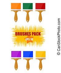 shiny and colored brush sign set
