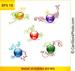 shiny and colored medic vitamin capsules pills set