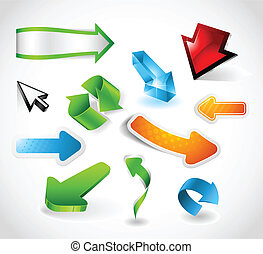 Shiny and colorful arrows - Set of various shiny and...
