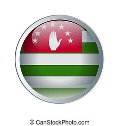 Shiny and emboss Button with flag of Abkhazia. High detailed circle flag for your design. Vector illustration.