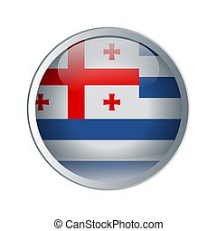 Shiny and emboss Button with flag of Ajaria. High detailed circle flag for your design. Vector illustration.