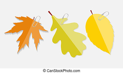 Shiny Autumn Natural Leaves Label with Clip Vector Illustration