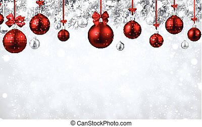 Shiny background with red Christmas balls.