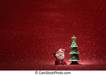 shiny background with santa claus christmas tree. High quality and resolution beautiful photo concept