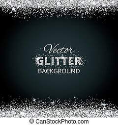 Shiny background with silver glitter frame and space for ...