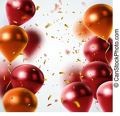 Shiny Balloons And Confetti Background