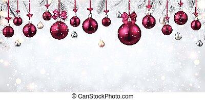 Shiny banner with pink Christmas balls.