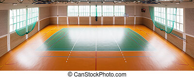 Shiny basketball gym - Empty basketball gym at sport court