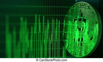 Shiny bitcoin reflects green data graph on the computer screen