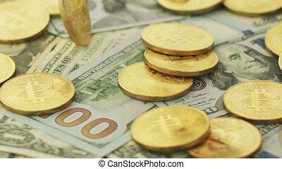 Shiny bitcoins and money bills - Close-up shot of colorful...