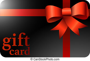 shiny black gift card with red ribbon
