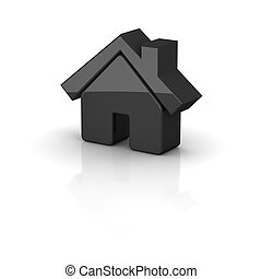 Shiny black house icon. 3d rendered illustration.