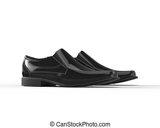 Shiny black leather moccasins with white stitching - side view