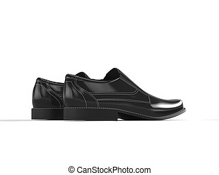 Shiny black leather moccasins with white stitching - back view