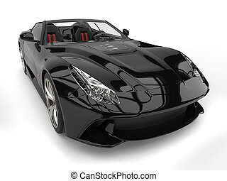 Shiny black modern convertible super sports car