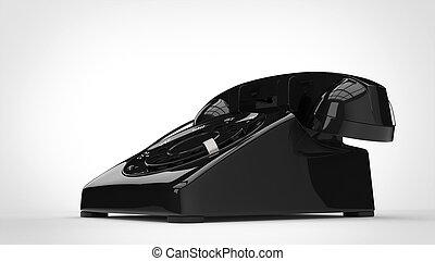 Shiny black retro telephone - 3D Illustration