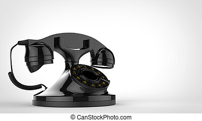Shiny black vintage telephone - 3D Illustration