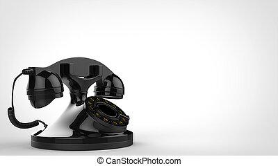 Shiny black vintage telephone - side view - 3D Illustration