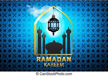 Shiny blue Arabic lamp on stars and moons decorated background for holy month of Muslim community Ramadan Kareem celebration.