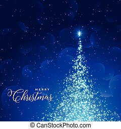 shiny blue background with sparkles tree