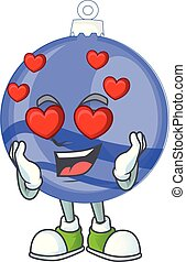 Shiny blue christmas ball cartoon with character in love
