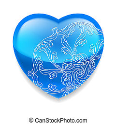 Shiny blue heart with decor - Glossy blue heart with ornate...