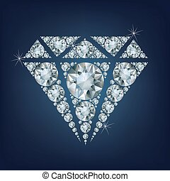 Shiny bright diamond symbol made a lot of diamonds
