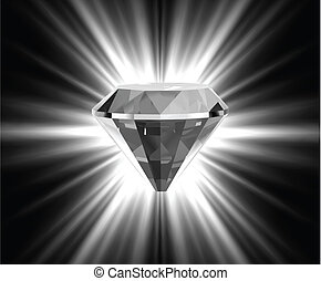 Shiny bright diamond. Vector illustration
