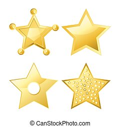 Shiny bright five-pointed stars of several designs with...