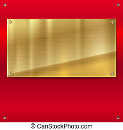 Shiny bronze metal plate with screws. Golden steel yellow banner on red polished background, 3D illustration for your design and art creativity